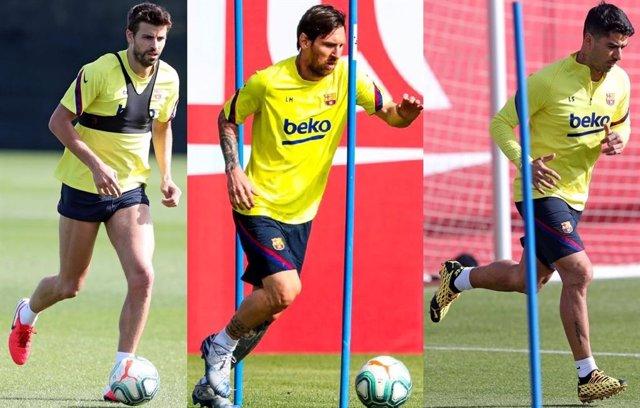 Gerard Piqué, Leo Messi y Luis Suárez entrenan, en solitario, en la Ciutat Espor
