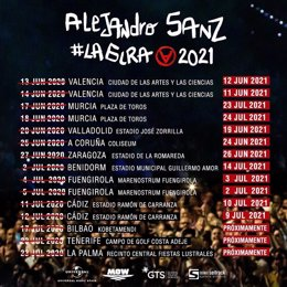 Cultura.- Alejandro Sanz reprograma su gira española en 2021 y actuará en Valènc