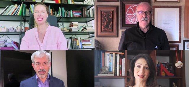 Anne Igartiburu, Vicente Del Bosque, Carlos Sobera y Silvia Jato en una imagen del vídeo para apoyar a Cáritas