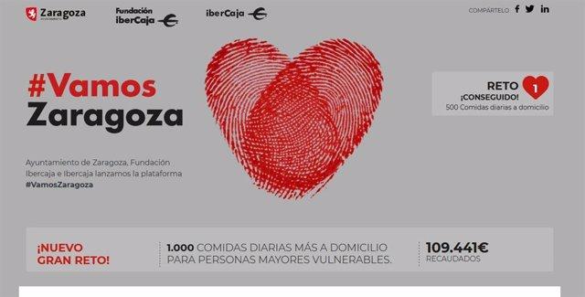 Coronavirus.- Zaragoza.- '#VamosZaragoza' cubre sus tres primeros retos y lanza otro para ayudar a familias vulnerables
