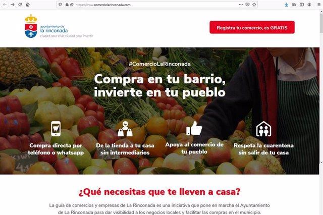 Página web creada por el Consistorio de La Rinconada para impulsar la digitalización del comercio local.