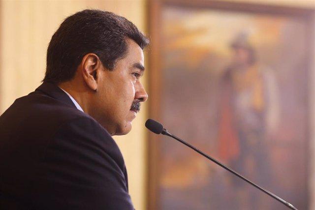 Nicolás Maduro, en una rueda de prensa en Caracas