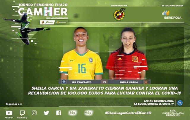 Fútbol.- Sheila García y Bia Zaneratto cierran GamHer y recaudan 100.000 euros p