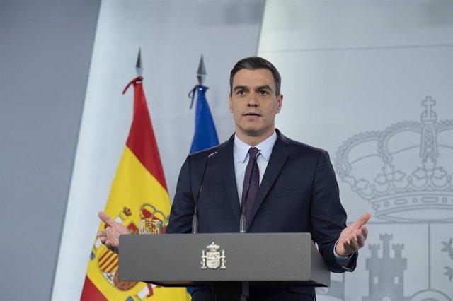 Comparecencia del presidente del Gobierno de España, Pedro Sánchez,  en el Palacio de la Moncloa. En Madrid, a 2 de mayo de 2020.