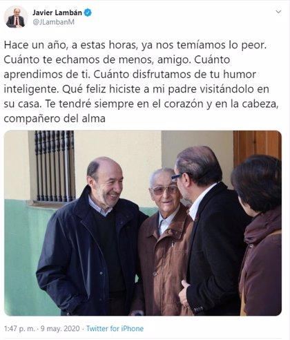 """Lambán recuerda a Rubalcaba en el primer aniversario de su muerte: """"Cuánto te echamos de menos, amigo"""""""