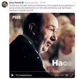 Tuit del alcalde de Valladolid, Óscar Puente, con motivo del aniversario de la muerte de Alfredo Pérez Rubalcaba.
