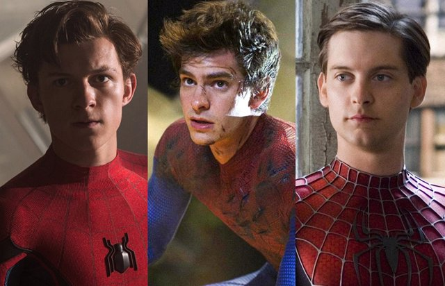 Tom Holland, Andrew Garfield y Tobey Maguire, los tres Spider-Man del cine