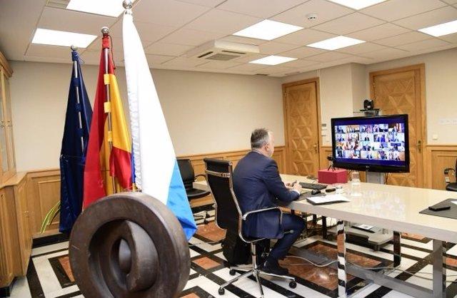 El presidente de Canarias, Ángel Víctor Torres, durante la reunión de presidentes autonómicos