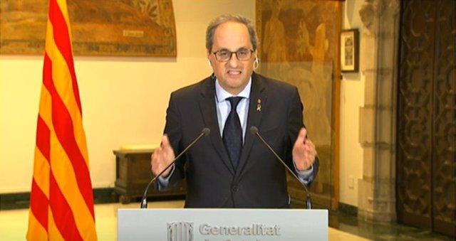 El president de la Generalitat, Quim Torra, en la roda de premsa posterior a la novena reunió de presidents autonòmics, a 10 de maig de 2020.