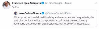 """Igea responde a las críticas de Girauta: """"Quod erat demonstrandum"""""""