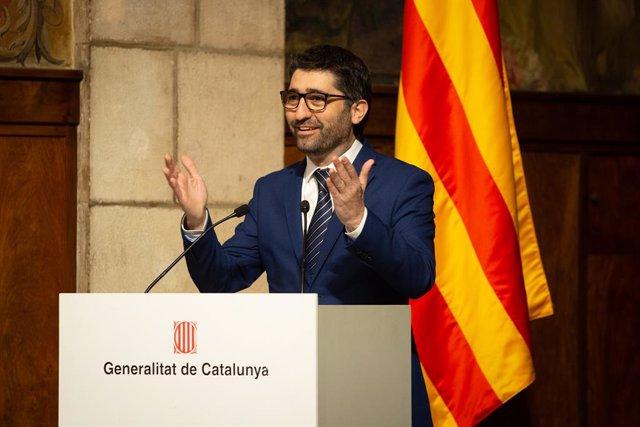 El conseller de Polítiques Digitals i Administracions Públiques, Jordi Puigneró, durant el seu discurs en la presentació de l'Estratègia d'Intel·ligència Artificial de Catalunya, a Barcelona/Catalunya (Espanya) a 18 de febrer de 2020.