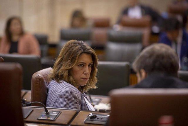 La secretaria general del PSOE-A, Susana Díaz, en una imagen de archivo en el Pleno del Parlamento andaluz.