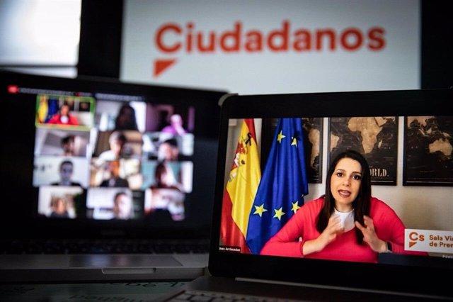 La presidenta de Ciudadanos,  Inés Arrimadas, en una roda de premsa telemtica.