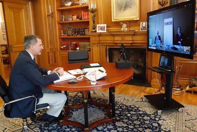 Videoconferencia entre el Rey y Unesid