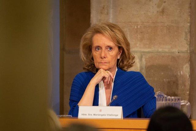 La consellera de Cultura, Mariàngela Vilallonga en la presentació de la 22 Fira Mediterrània de Manresa, a Barcelona , a 2 d'octubre de 2019 (arxiu)