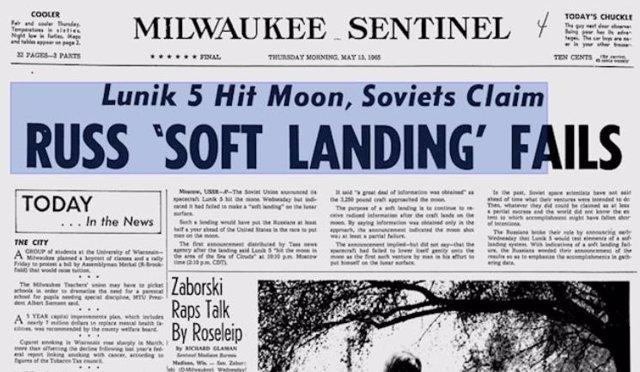 Portada de un medio estadounidense informando sobre el intento frustrado de aterrizaje en la Luna
