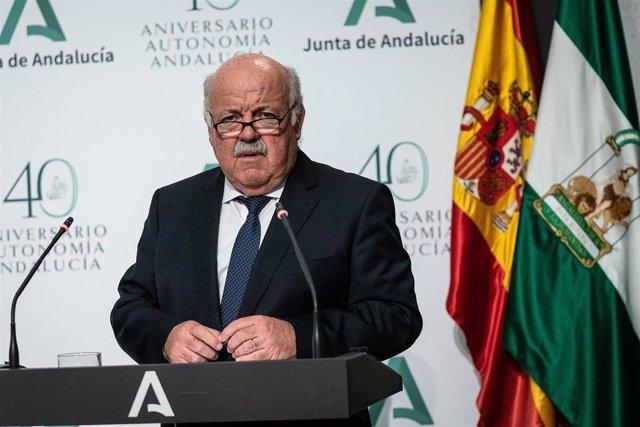 El consejero andaluz de Salud y Familias, Jesús Aguirre
