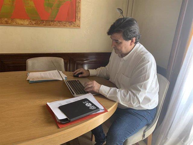 El alcalde de Huelva, Gabriel Cruz, en una reunión telemática.