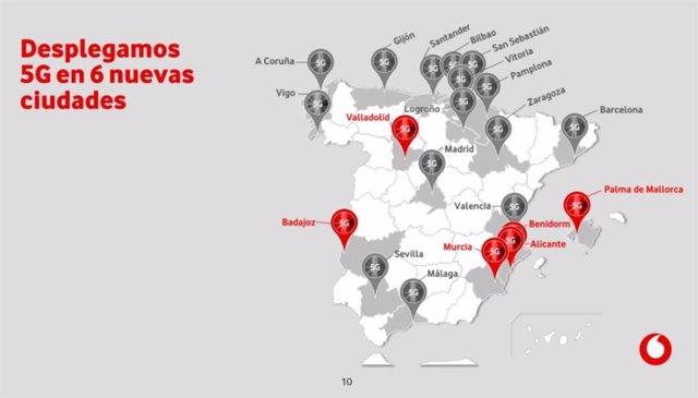 Mapa con el despliegue de la red 5G de Vodafone