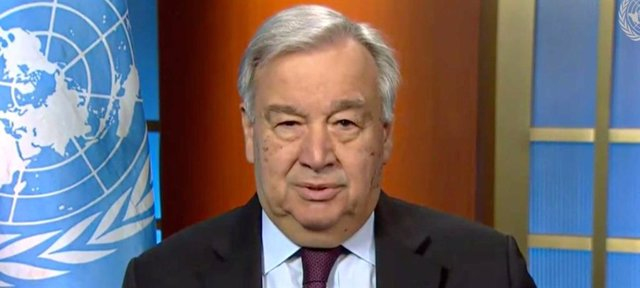 El Secretario General António Guterres durante la conferencia de prensa sobre la crisis mundial del coronavirus COVID-19