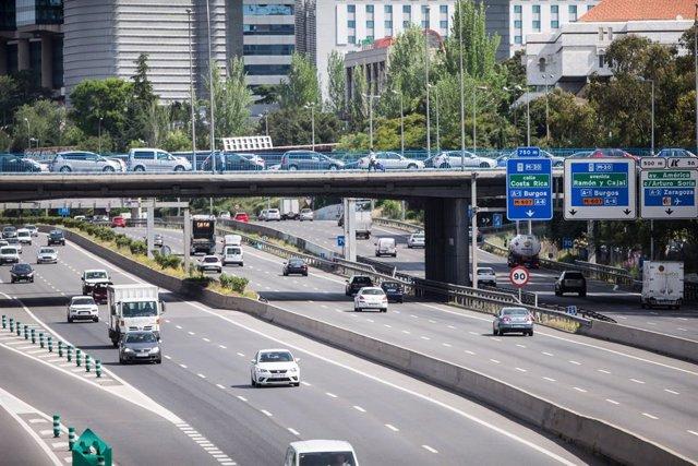 Tramo de la autopista de la M-30, en Madrid, tomada este martes 5 de mayo de 2020