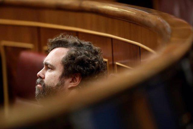 El portavoz de Vox, Iván Espinosa de los Monteros, en su escaño en el Congreso