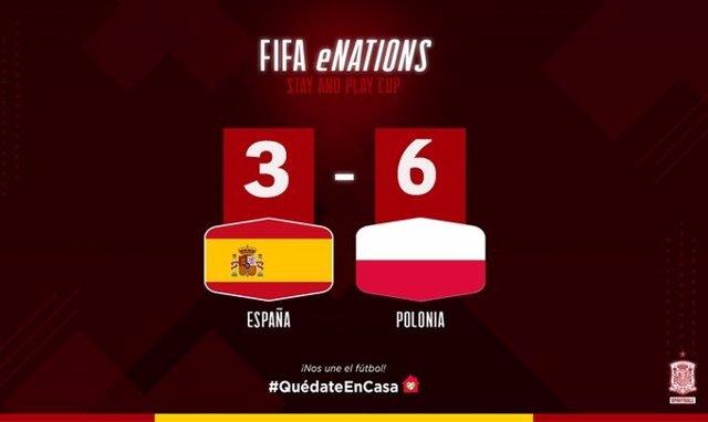 La selección española de eFootball cae ante Polonia en el amistoso al FIFA 20