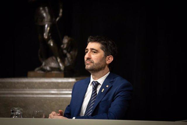 El conseller de Polítiques Digitals i Administracions Públiques, Jordi Puigneró, durant la presentació de l'Estratègia d'Intel·ligència Artificial de Catalunya, a Barcelona/Catalunya (Espanya) a 18 de febrer de 2020.