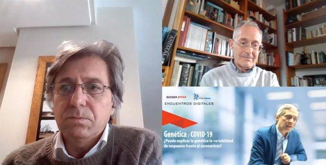 """Encuentro Digital de Europa Press """"Genética y Coronavirus. ¿Puede explicar la Genética la variabilidad de respuesta frente al coronavirus?"""" moderado por Javier García (3d-abajo), con la intervención de Ángel Carracedo y Pablo Daniel Lapunzin (i)."""