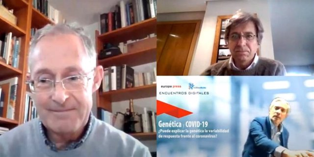 """Encuentro Digital de Europa Press """"Genética y Coronavirus. ¿Puede explicar la Genética la variabilidad de respuesta frente al coronavirus?"""" moderado por Javier García (3d-abajo), con la intervención de Ángel Carracedo (i) y Pablo Daniel Lapunzina."""
