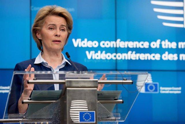 Ursula Von Der Leyen en una rueda de prensa en Bruselas