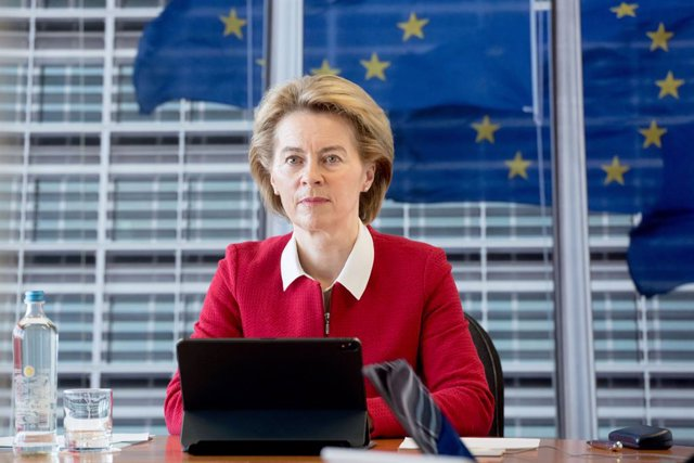 HANDOUT - 06 May 2020, Belgium, Brussels: President of the European Commission Ursula von der Leyen attends the weekly meeting via videoconference due to the coronavirus (COVID-19) outbreak.