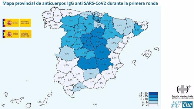 Mapa provincial de anticuerpos Covid 19