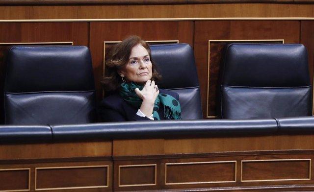 La vicepresidenta primera del Gobierno, Carmen Calvo, este miércoles durante la sesión de Control al Ejecutivo en el Congreso, en Madrid (España), a 13 de mayo de 2020.
