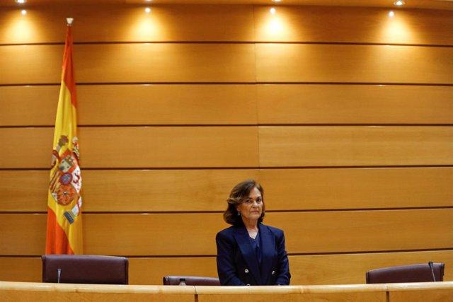 La vicepresidenta primera y ministra de la Presidencia, Relaciones con las Cortes y Memoria Democrática, Carmen Calvo, comparece ante la Comisión Constitucional del Senado. En Madrid (España) a 13 de mayo de 2020.