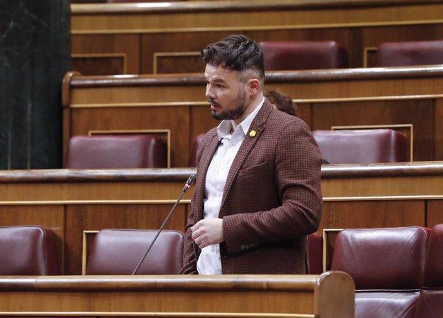 El portaveu d'ERC, Gabriel Rufián, en la sessió de control al Congrés dels Diputats.