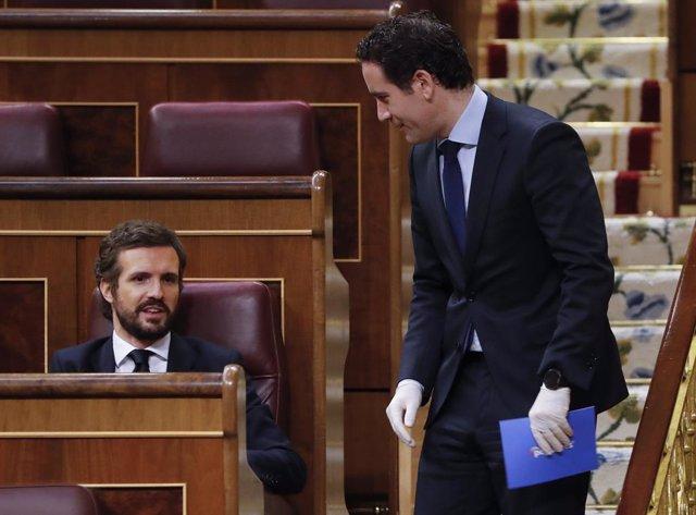 El líder del PP, Pablo Casado i el secretari general del partit, Teodoro García Egea, durant la sessió de control al Congrés dels Diputats, Madrid (Espanya), 13 de maig del 2020.