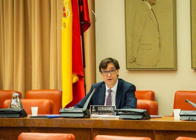 El ministro de Sanidad, Salvador Illa, durante su séptima comparecencia ante la Comisión de Sanidad en el Congreso de los Diputados para informar de la evolución de la pandemia del coronavirus. En Madrid, (España), a 7 de mayo de 2020.