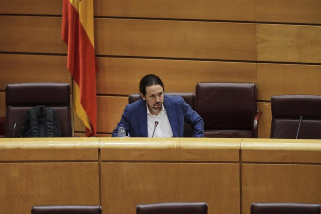 El vicepresidente segundo del Gobierno y ministro de Derechos Sociales y Agenda 2030, Pablo Iglesias, durante su comparecencia en la Comisión de Derechos Sociales