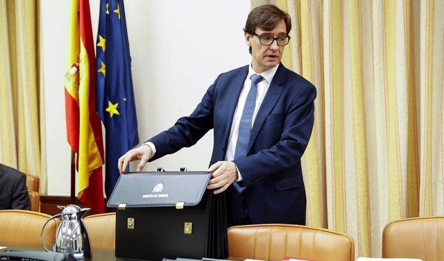 El ministro de Sanidad, Salvador Illa, antes de su comparecencia este jueves en la Comisión correspondiente del Congreso, en Madrid (España), a 14 de mayo de 2020.