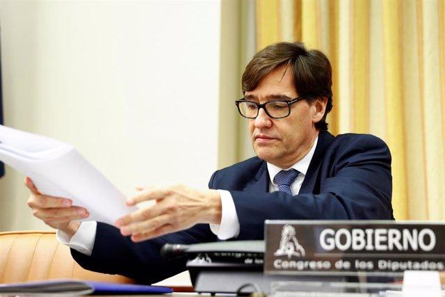 El ministre de Sanitat, Salvador Illa, abans de la seva compareixença en la Comissió Corresponent del Congrés, Madrid (Espanya), 14 de maig del 2020.