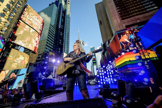 Singer Melissa Etheridge performs during the Closing Ceremony of WorldPride NYC 2019 at Times Square on June 30, 2019 in New York City