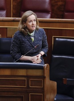 La vicepresidenta económica, Nadia Calviño, durante su intervención este miércoles en la sesión de Control al Ejecutivo que se celebró en el Congreso el 13 de mayo de 2020.