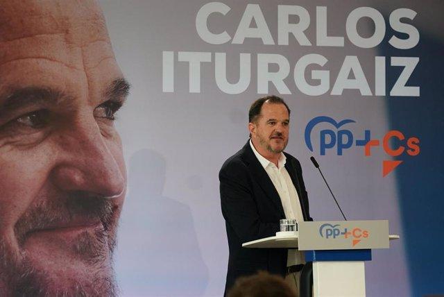 El candidato a lehendakari de la coalición PP+C's, Carlos Iturgaiz, interviene en el acto de presentación del candidato a lehendakari de la coalición PP+C's, en Santurce (Vizcaya/País Vasco/España) a 07 de marzo de 2020.