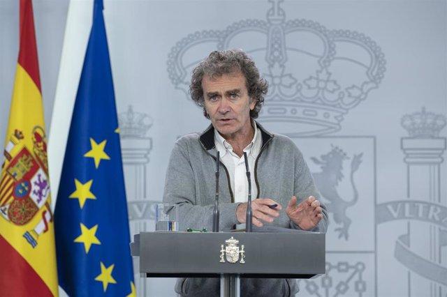 El director del Centro de Coordinación de Emergencias del Ministerio de Sanidad, Fernando Simón, durante su comparecencia en rueda de prensa para actualizar los datos sobre el Covid-19. En Madrid (España), a 14 de mayo de 2020.