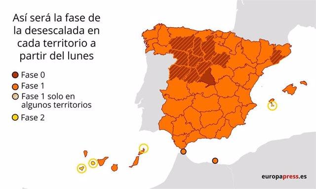 Mapa de las fases de la desescalada por provincias a partir del lunes 18 de mayo