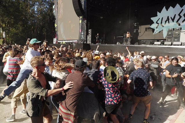 Festival goers enjoy the moshpit  during Slaves performance on the Amphitheatre stage during Splendour In The Grass 2019 on July 19, 2019 in Byron Bay, Australia. (Photo by Mark Metcalfe/Getty Images)