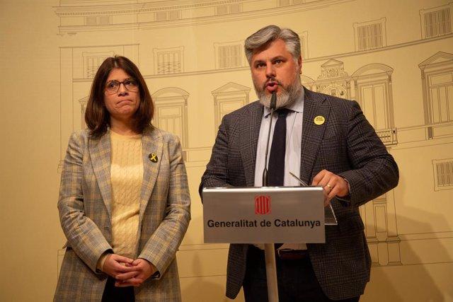Els diputats de JxCat en el Parlament Albert Batet i Gemma Geis en una imatge d'arxiu.