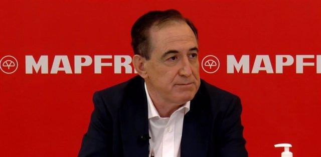El presidente de Mapfre, Antonio Huertas, durante la presentación del primer trimestre 2020.