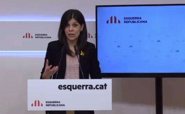 Marta Vilalta (ERC) en roda de premsa telemàtica.